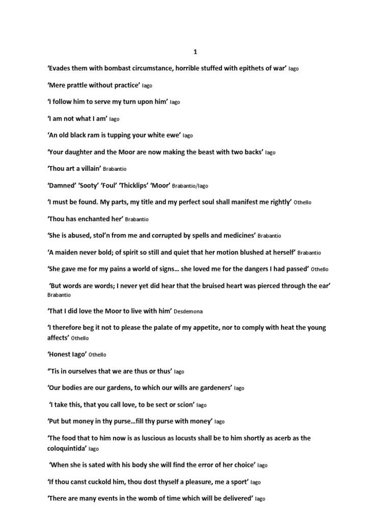 Othello Quotes | Othello Quotes Iago Othello