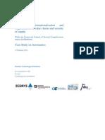 Study on internationalisation and fragmentation of value chains and security of supply - Aeronautics