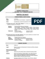 Agenda Legislativa - 7 al 11 de mayo de 2012