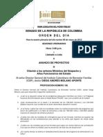 Plenaria Senado - Orden del día - 8 de mayo de 2012