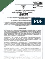 decreto 729 de 2012
