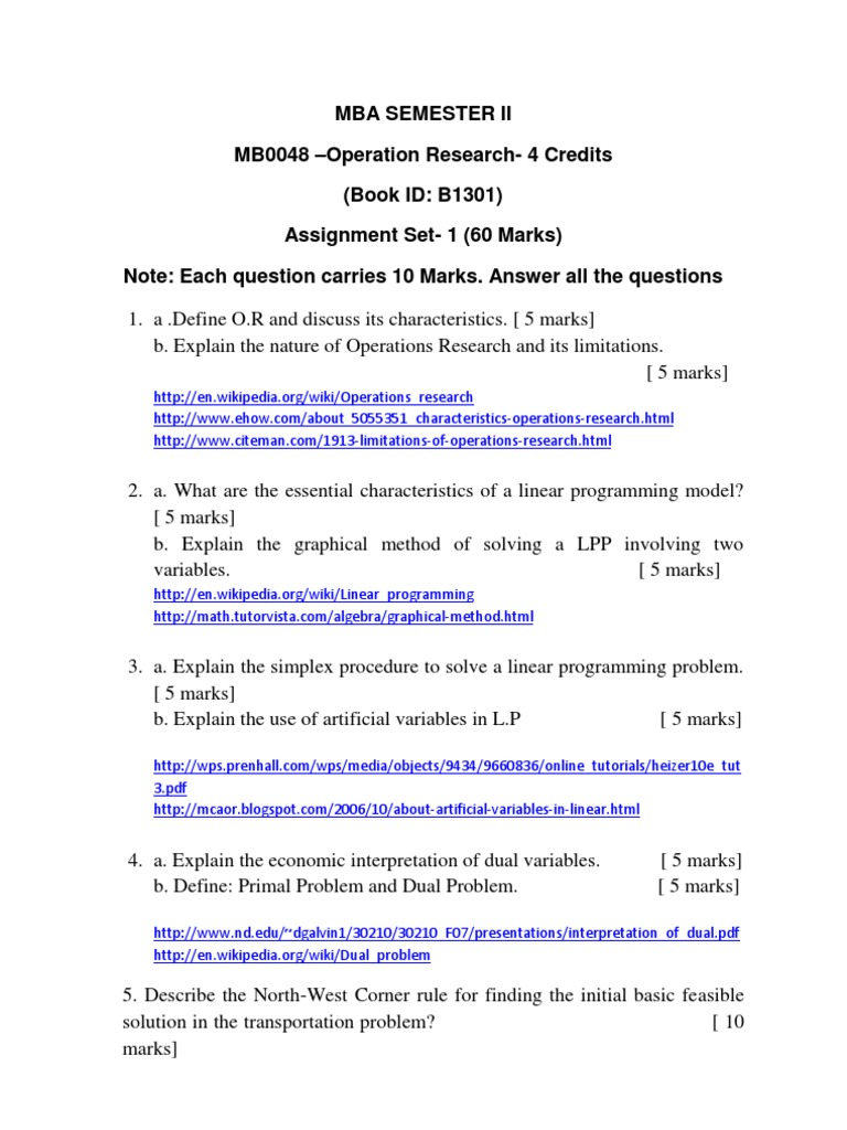 MB0048 | Linear Programming | Mathematical And Quantitative Methods