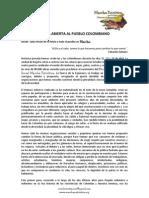 Carta Abierta Al Pueblo Colombiano por parte de la Junta Patriótica Nacional