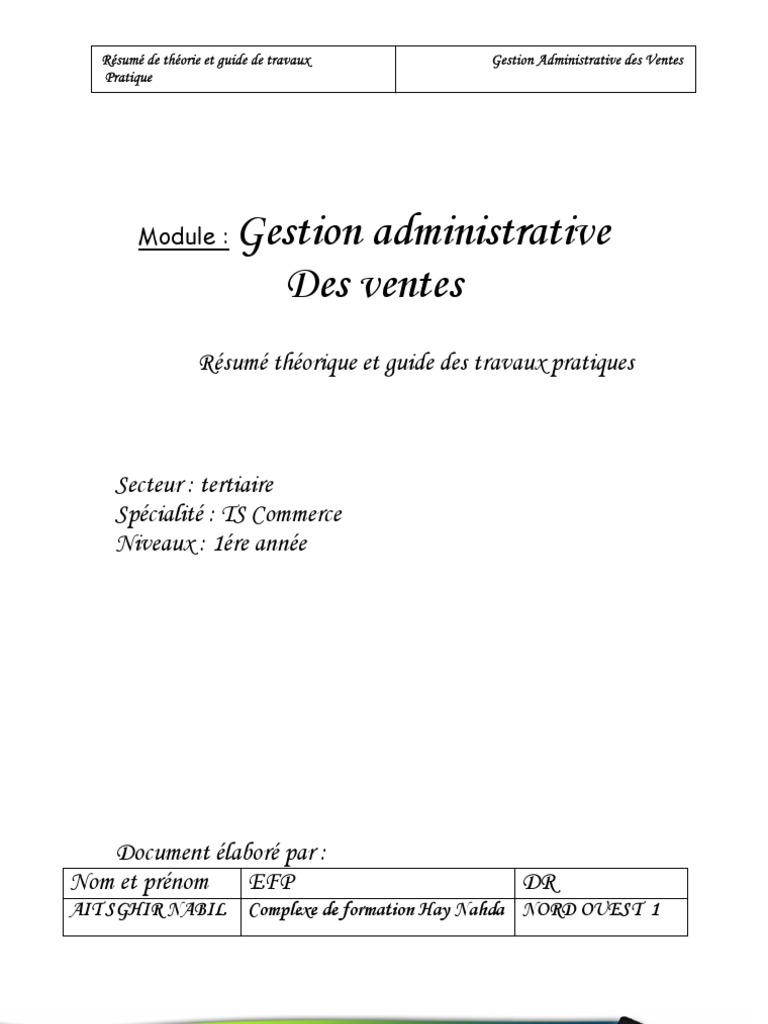 M12 Gestion Administrative Des Ventester Tsc