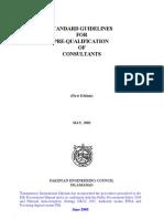 I. Standard Guildelines for Pre-Qualification of Constult
