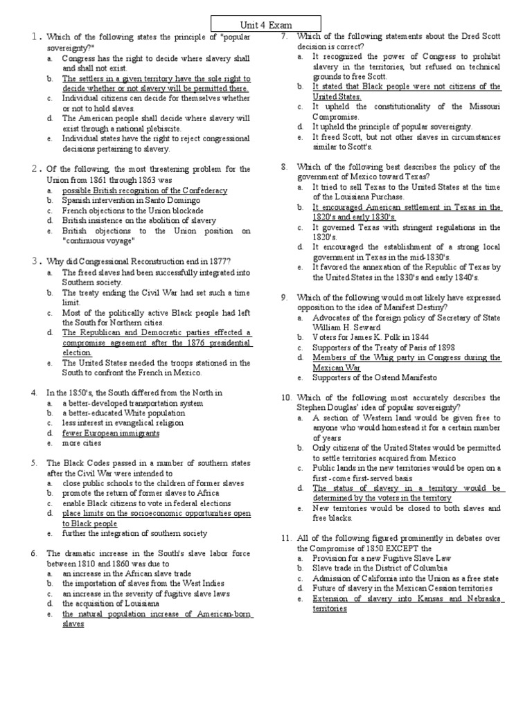 AP U.S. Unit 4 Exam + Answers | Reconstruction Era ...