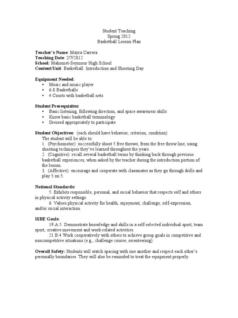 Basketball Unit 2 Lesson Plan Intro Shooting Week 1 Lesson Plan Affect Psychology