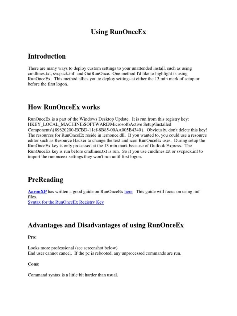 Using RunOnceEx | Windows Registry | Microsoft Windows