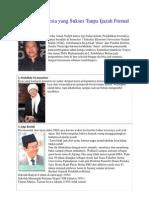 5 Tokoh Indonesia Yang Sukses Tanpa Ijazah Formal