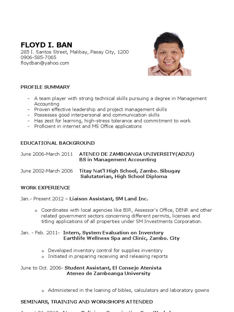 sle resume for fresh graduates accounting science