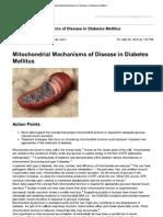 Diabetes Cause by Mitochondrial Mechanisms of Disease in Diabetes Mellitus