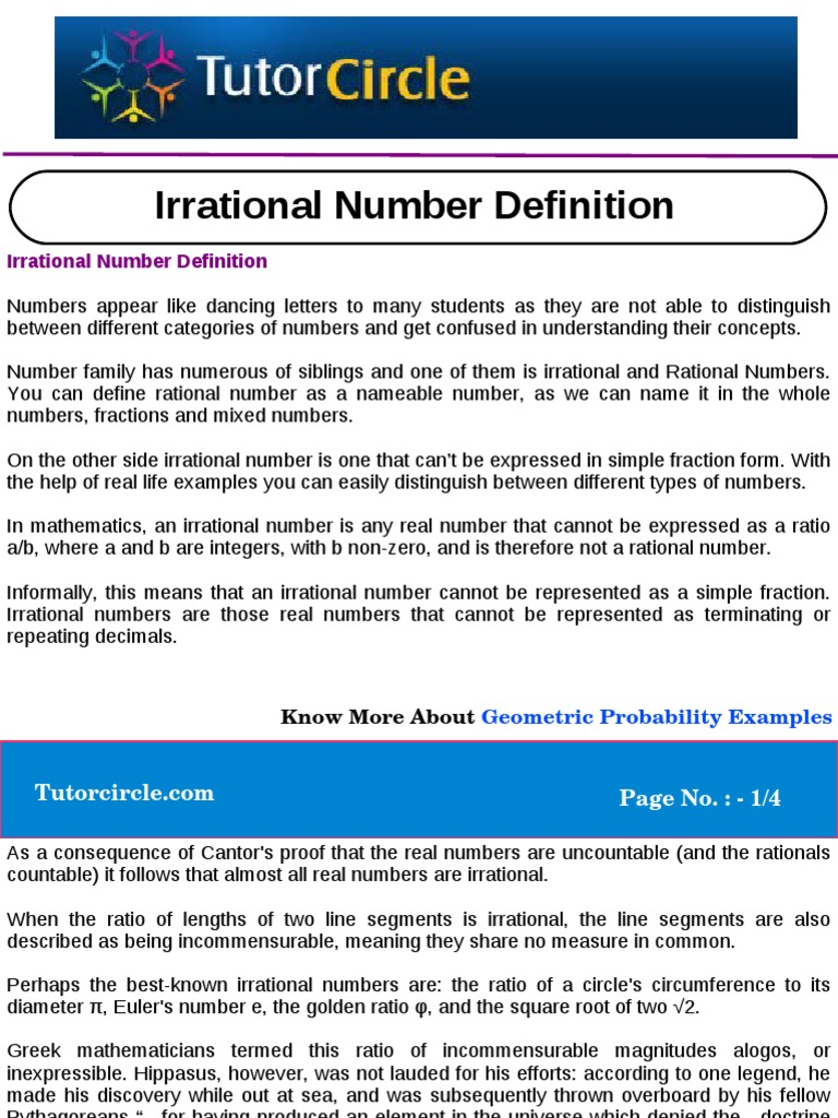 Irrational Number Definition Ratio Rational Number