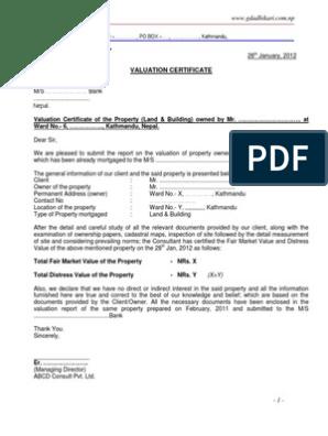 Valuation Report Sample Format Market Value Valuation Finance