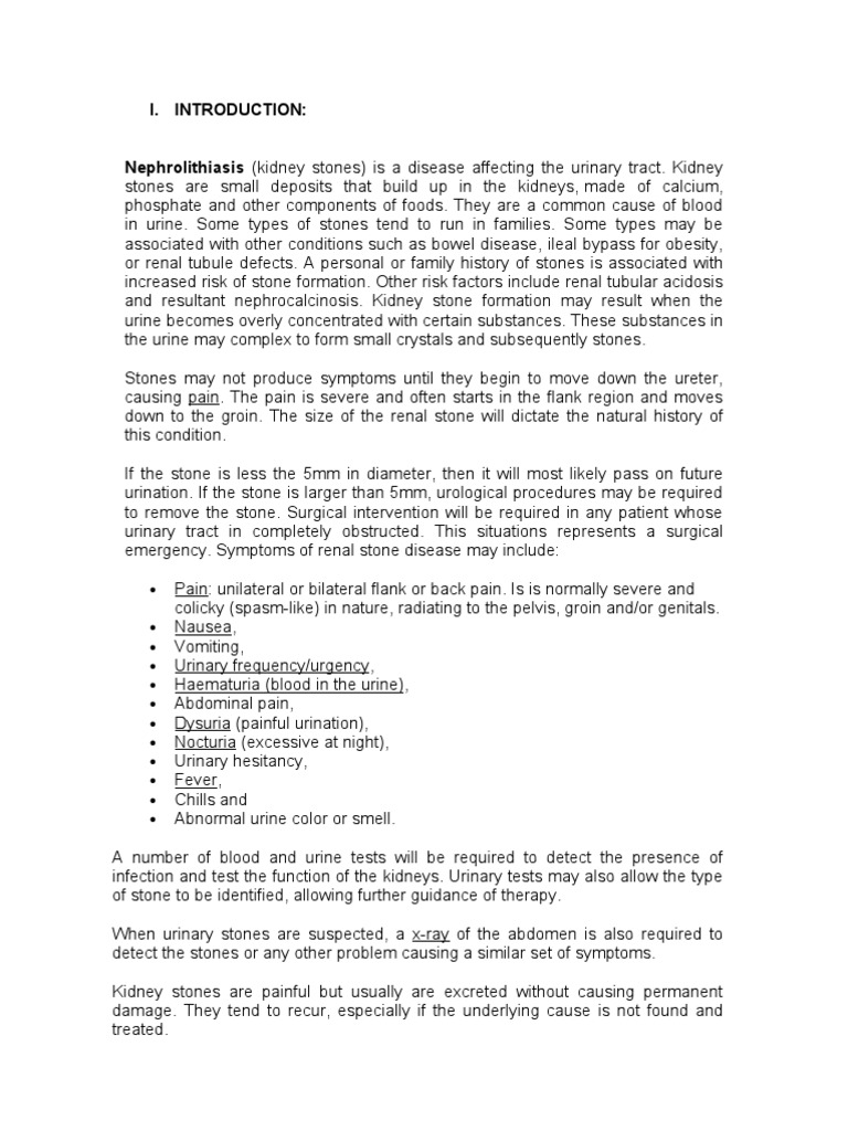 urolithiasis case study scribd