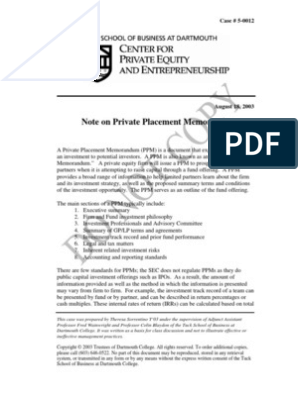 Private_placement_memo pdf | Limited Partnership | Private