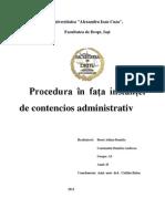 Procedura acțiunii în contencios administrativ