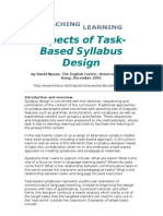 Aspects of Task Syllabus Design