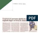 Un proyecto peruano queda en segundo lugar en feria de ciencias