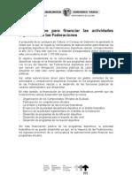 Subvenciones federaciones 2012