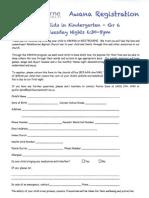Awana Registration 2012