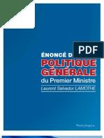 Enonce de Politique Generale de Laurent Salvador LAMOTHE