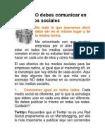 Lo Que NO Debes Comunicar en Los Medios Sociales