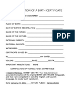 Translation of a Birth Certificate