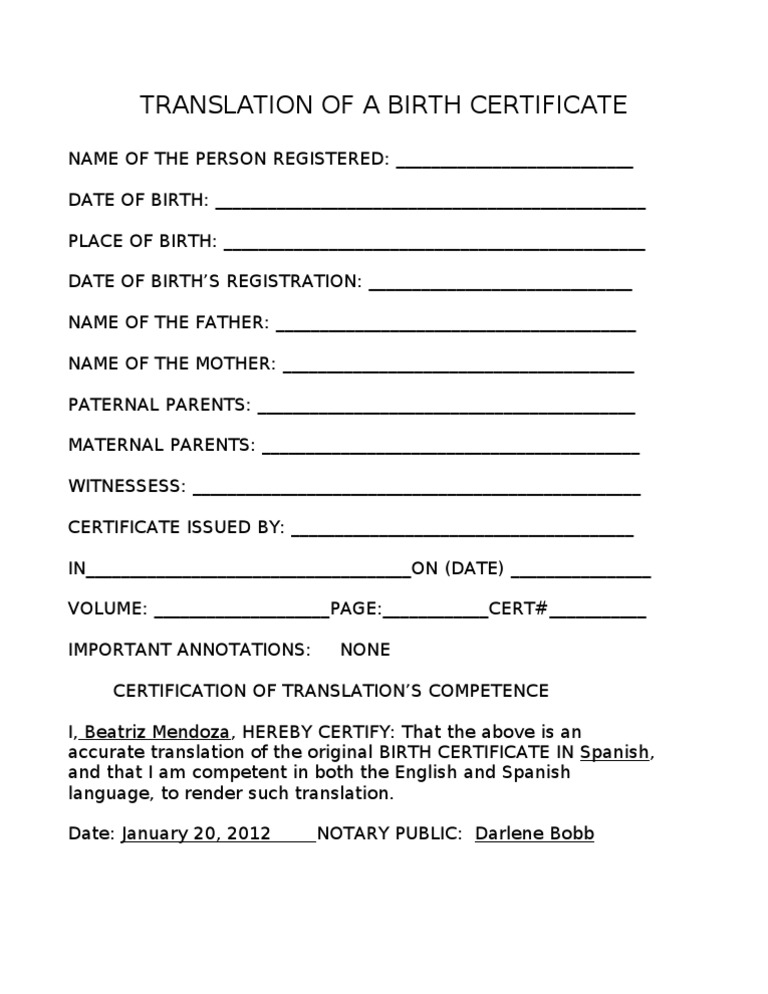 Translation Of A Birth Certificate