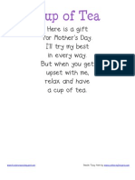 Cup of Tea Classroom Poster and Student Poem