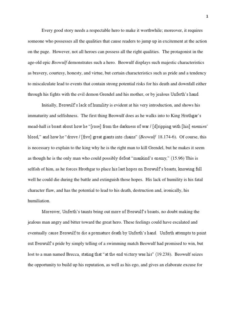 beowulf and his pride essay Beowulf case study essay sample during beowulf's mission, his pride proves to be his largest internal battle and winds up standing in his way of protecting.