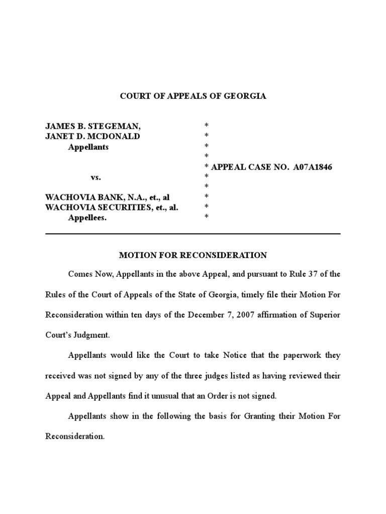 Appeal Court Letter Sample
