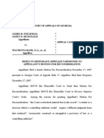 Reply to Response to Motion for Reoncsideration (GA Court Appeals)