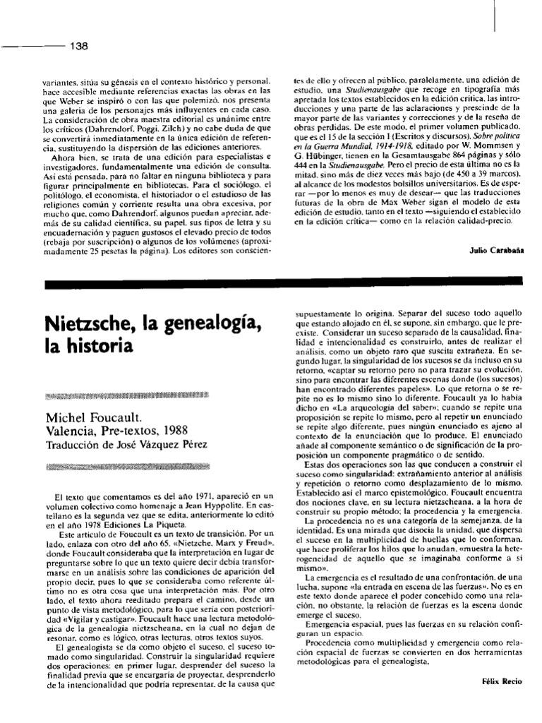 foucault nietzsche la genealogía la historia pdf