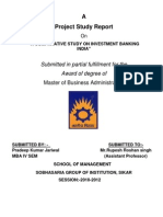 """""""A COMPARATIVE STUDY ON INVESTMENT BANKING INDIA by Pradeep Jariwal for more topics call 8233116967"""