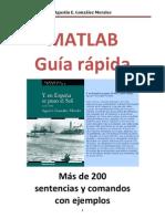 Matlab.  Guía rápida de sentencias y comandos. Y en España se puso el Sol