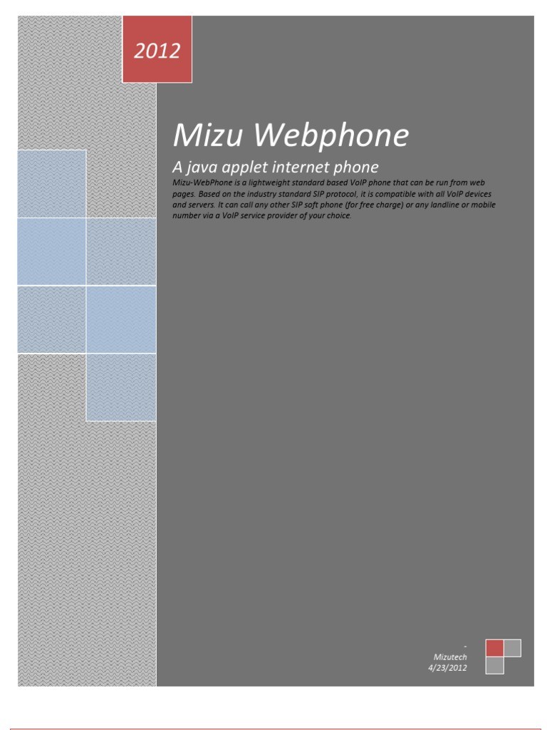 Mizu_WebPhone | Session Initiation Protocol | Web Page