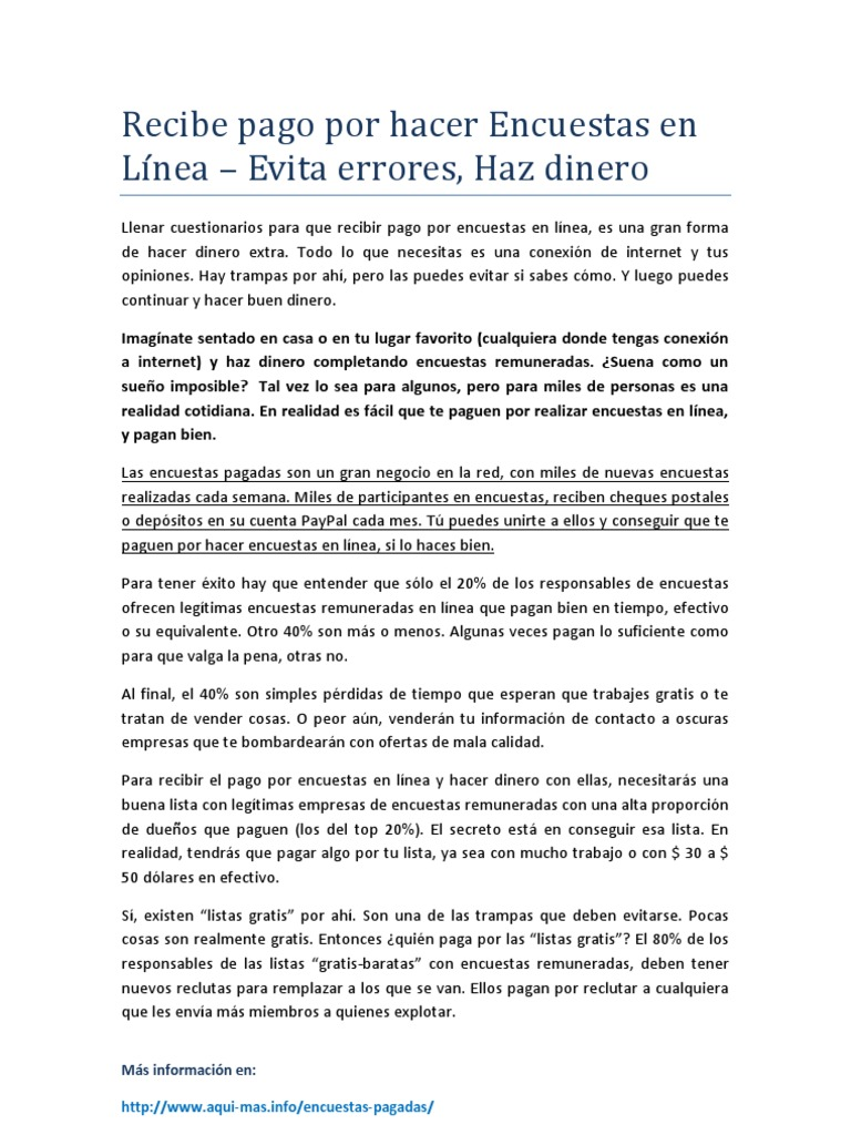 Recibe Pago Por Hacer Encuestas En Línea Evita Errores