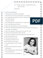 Anne Frank Comprehension Questions