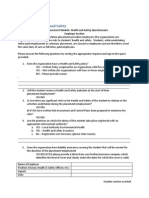Health and Safety Questionnaire