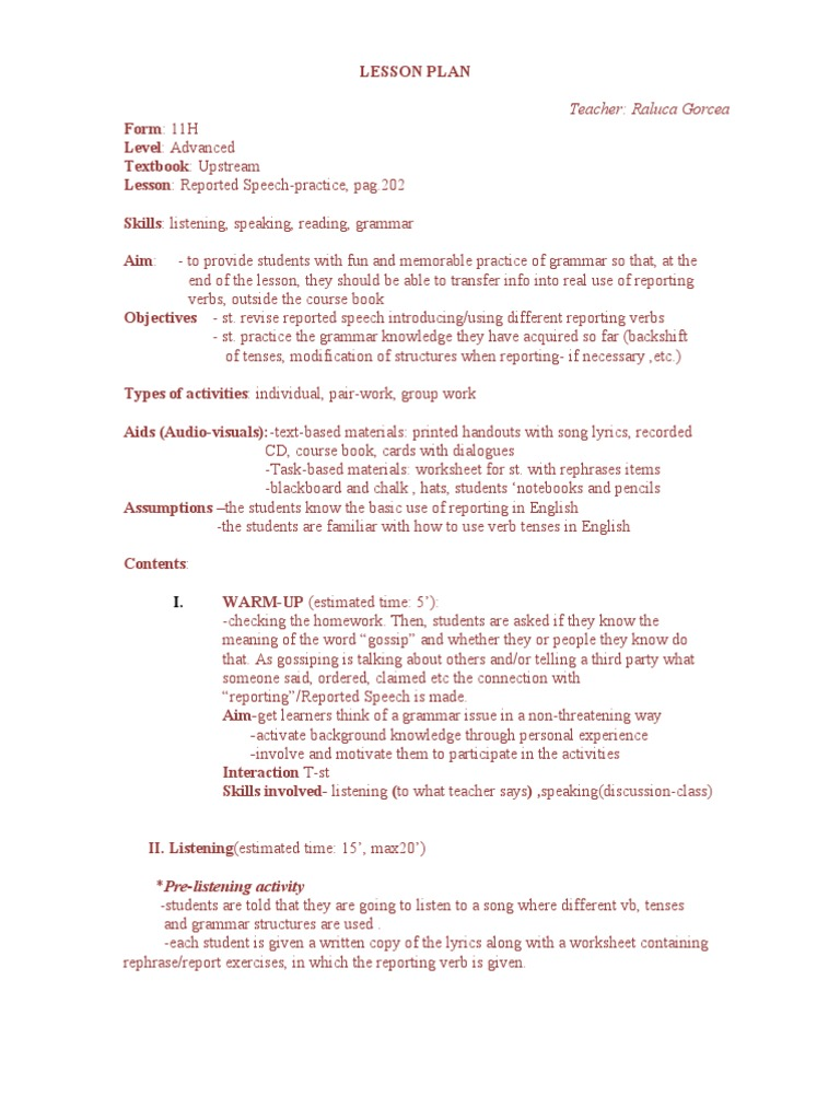 Lesson Plan Reported Speech   Lesson Plan   Verb