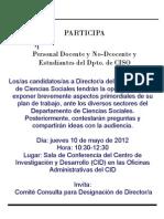 Invitación Foro Candidatos-as Director-a Dpto CISO