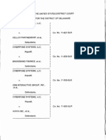 CyberFone Systems, LLC v. Cellco Partnership, et al., C.A. Nos. 11-827-SLR through 11-835-SLR (D. Del. Apr. 30, 2012).