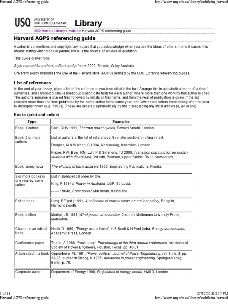 Harvard agps referencing guide mobile citation web page ccuart Image collections