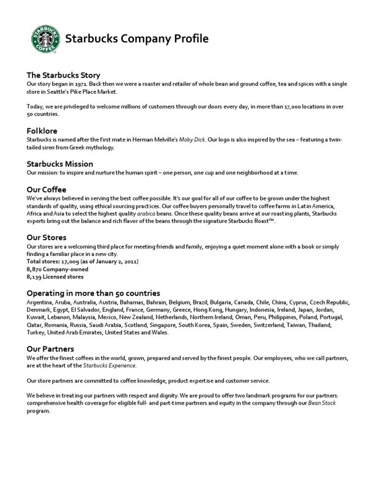 Starbucks Company Profile | Starbucks | Coffee