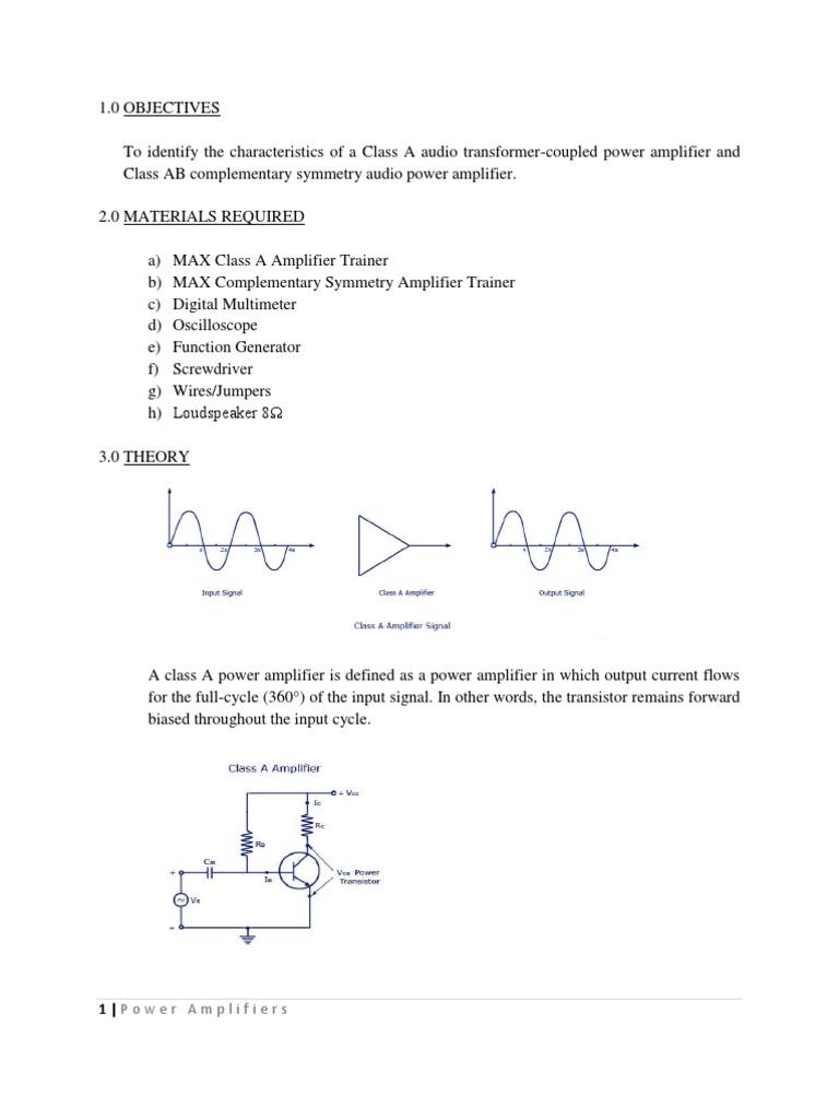 Long Report Amplifier Transistor Class Ab Power Amplifiers