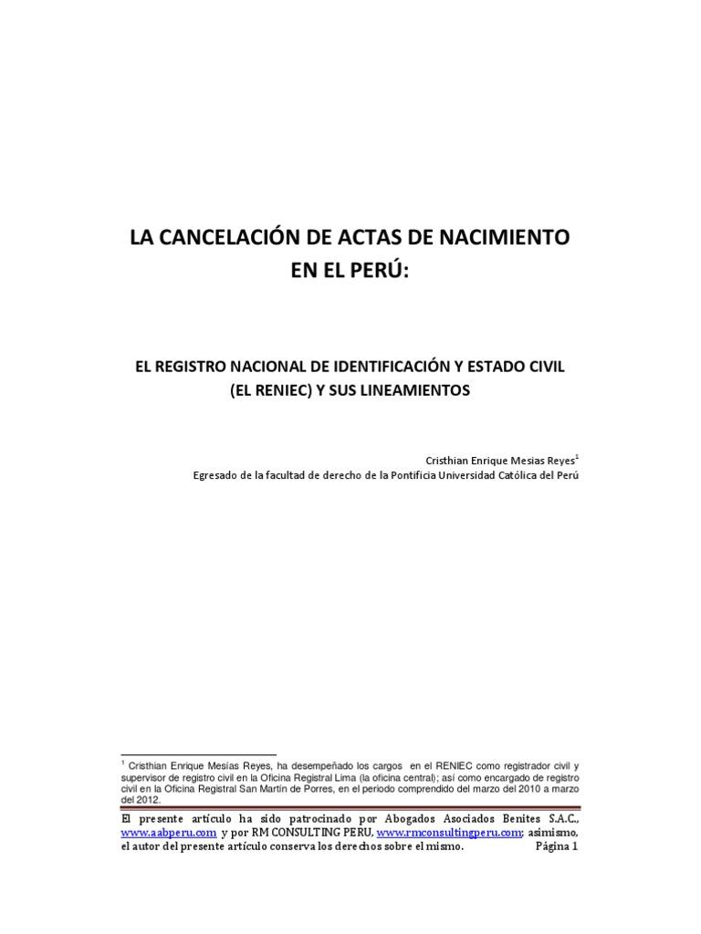 LA CANCELACIÓN DE ACTAS DE NACIMIENTO EN EL PERÚ - CRISTHIAN ENRIQUE ...