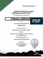 Southeastern Parker County Regional Water Study - TWDB Report No 98-483-246 - April 29 1999.