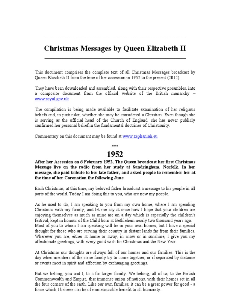 Christmas Messages By Queen Elizabeth Ii Elizabeth Ii