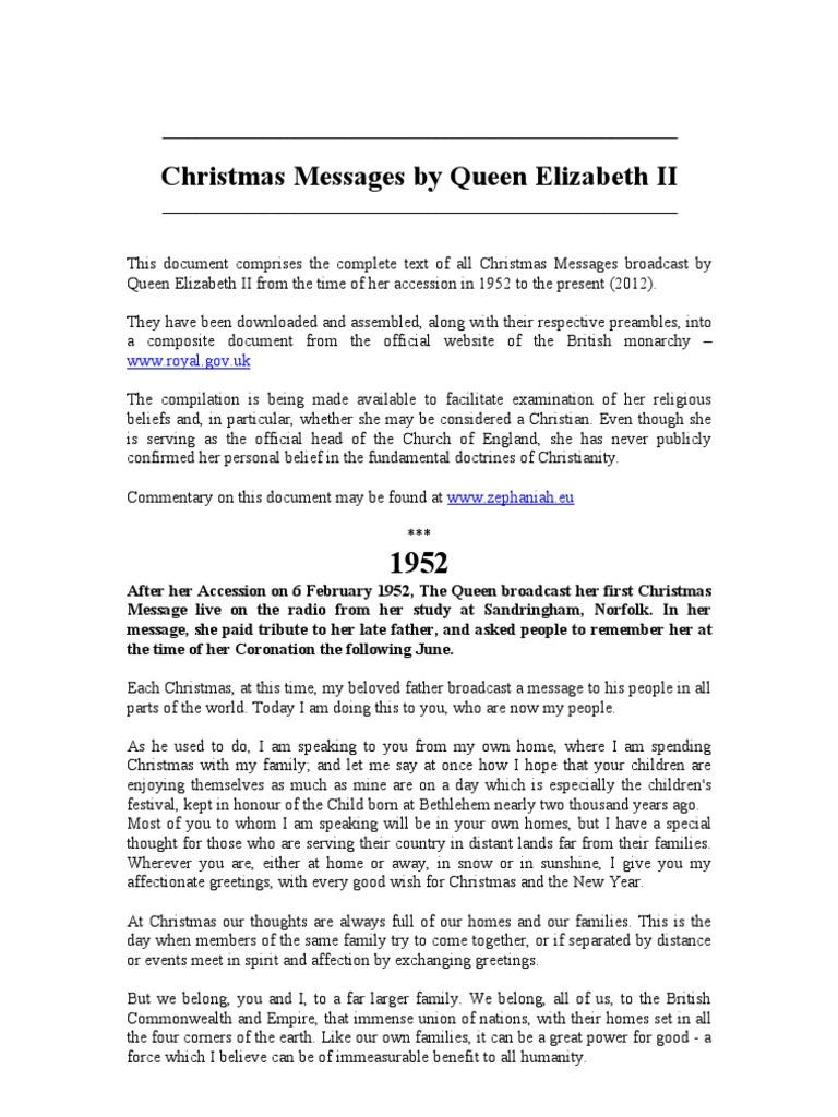 Christmas Messages By Queen Elizabeth Ii Elizabeth Ii