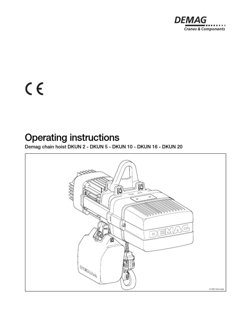 Demag DKUN Hoist Operating Manual | Electrician | Safety